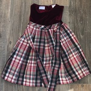 Red Velvet Plaid Dress